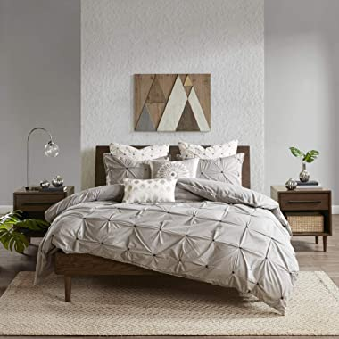 INK+IVY Masie 3 Piece Elastic Embroidered Cotton Comforter Set, King/Cal King, Gray