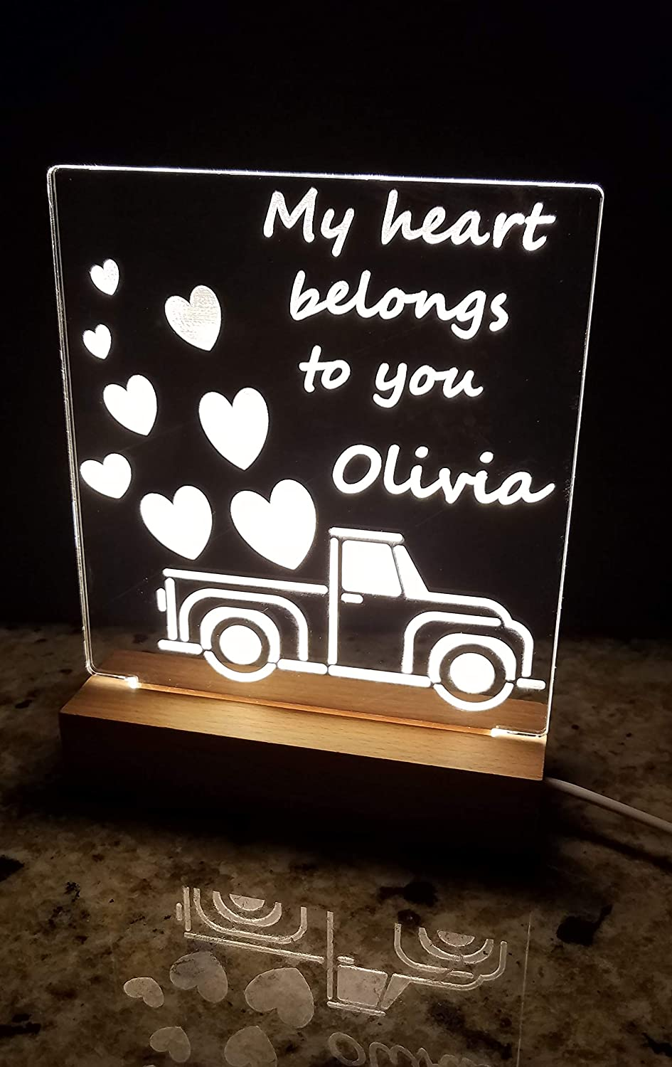 Acrylic engraved LED lamp with Personalize Rapid rise base. wi solid Sale SALE% OFF wooden