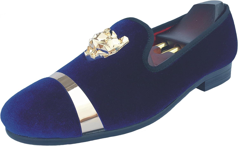Bara din stil Män's sammet Loafers Slippers med med med guld Buckle Bröllop Dress skor Slip -on Smoking Flats vit svart röd blå  billigaste