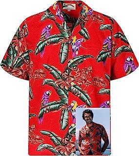Paradise Found Original Hawaiihemd Herren Kurzarm Front-Tasche Hawaii-Print Magnum Tom Selleck Verschiedene Designs