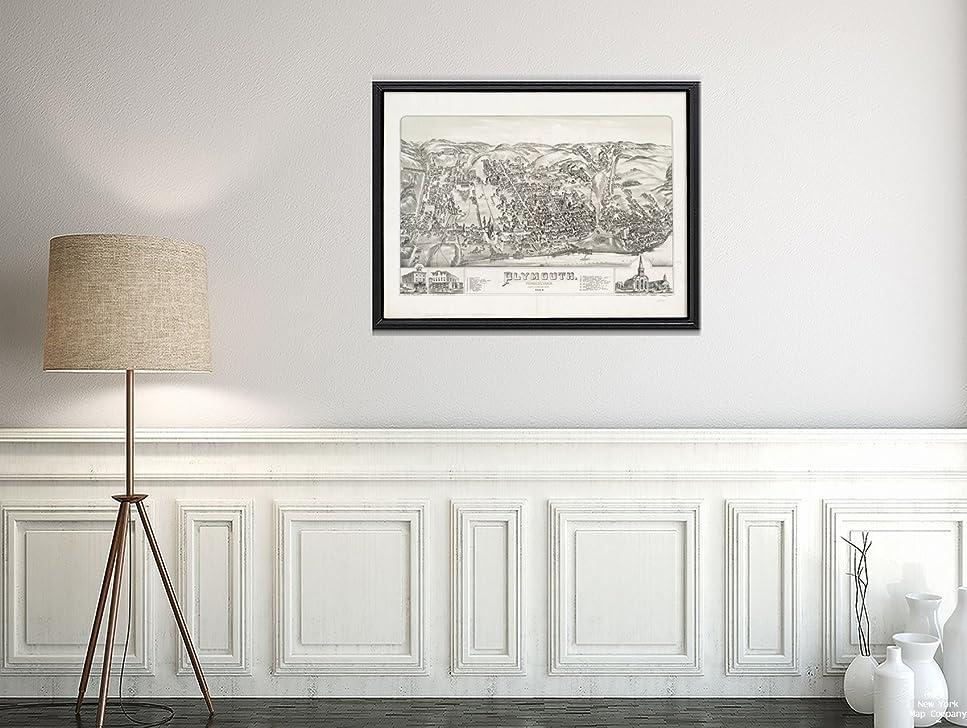 アニメーション戦術接続1884マップPennsylvania |モンゴメリー| Plymouth会議Plymouth : Pennsylvania鳥瞰図。Inclu