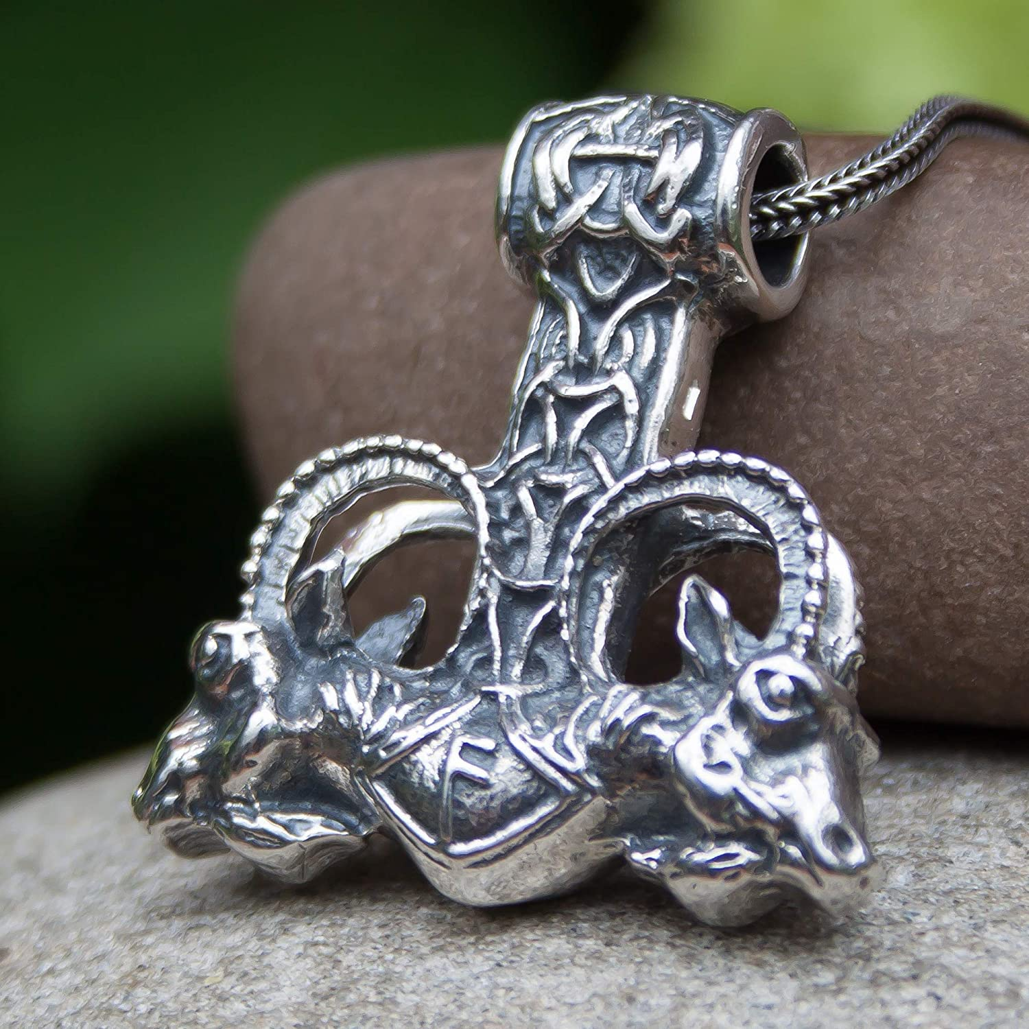 Large Viking Low price Mjolnir Pendant Necklace 925 Silver Sterling Max 44% OFF Odins