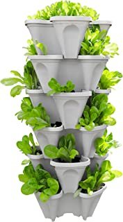 5-Tier Strawberry and Herb Garden Planter - Stackable Gardening Pots with 10 Inch Saucer (Stone)