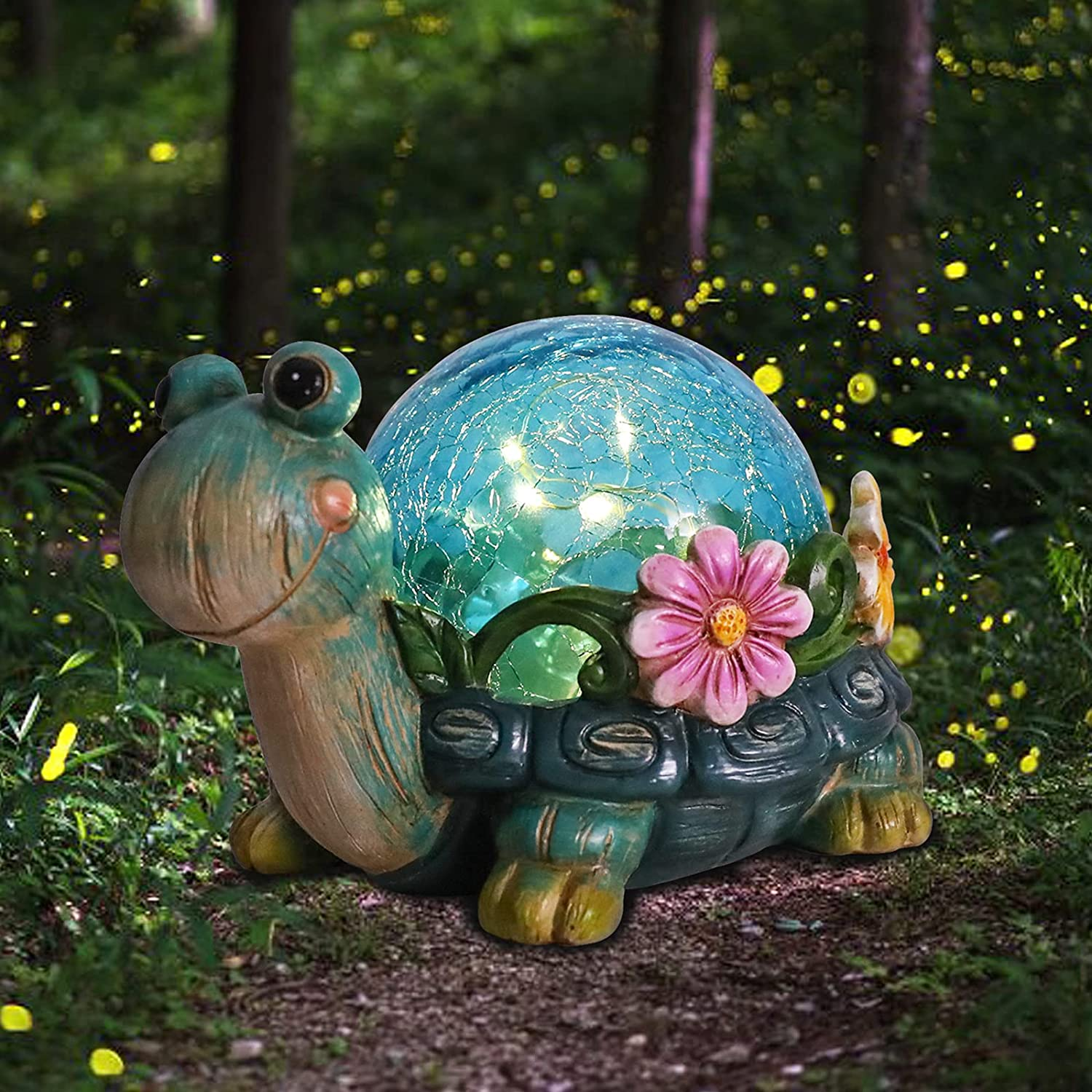 Solar Garden Statues Outdoor Figurines - Turtle Lawn Ornament with Solar Lights Cracked Glass Outdoor Decor for Patio Yard Decorations