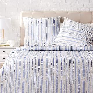 Amazon Basics - Juego de ropa de cama con funda de edredón, de satén, 260 x 240 cm / 65 x 65 cm x 2, Azul a rayas texturizado