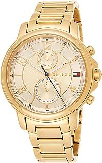 ساعة عملية كاجوال بلون ذهبي مصنوعة من الستانلس ستيل للنساء، 1781821 من تومي هيلفيجر
