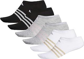 adidas, Calcetines Superlite No Show para mujer (6 pares), blanco/dorado lurex/claro Onix gris jaspeado claro/Aer, medianos, (talla de zapato 5-10)