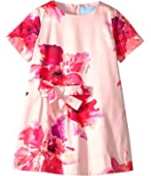 Lanvin Kids - Short Sleeve Floral Print A-Line Dress with Bow On Front (Toddler/Little Kids)