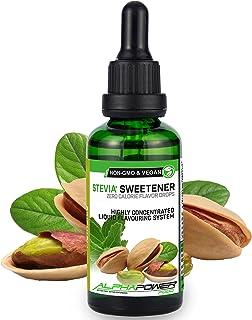 ALPHA POWER FOOD®: Stevia líquida natural - Stevia Gotas de pistacho, Edulcorante natural, sustituto del azúcar con sabor - sin azúcar & calorías
