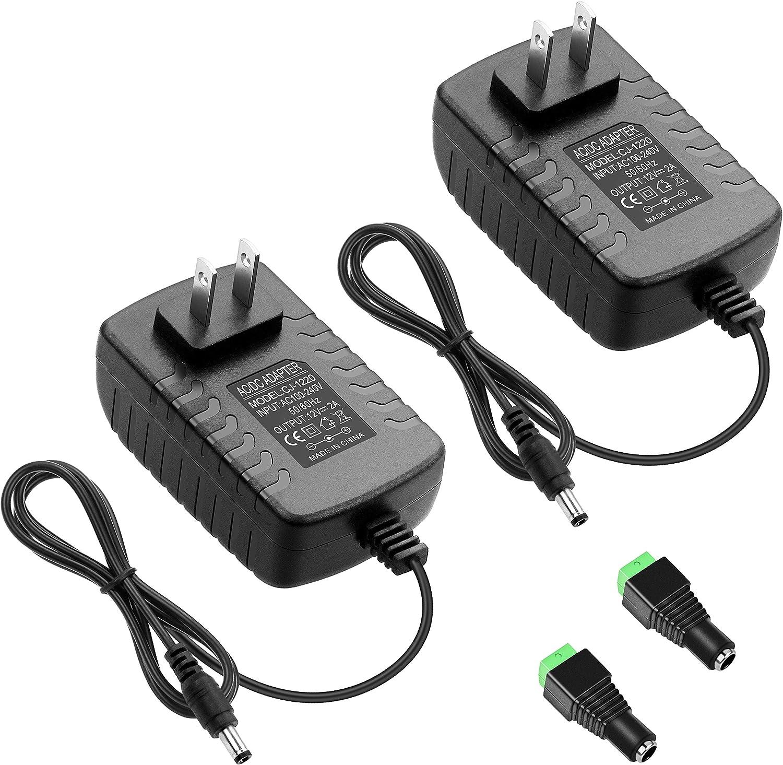 ALITOVE 12V 2A 24W Power Supply Adapter Converter 100~240V AC to DC 12 Volt 2 Amp 1.8A 1.5A 1.2A Transformer 5.5 x 2.5mm 2.1mm Tip for LED Strip CCTV Security Camera BT Speaker Webcam Router (2 Pack)