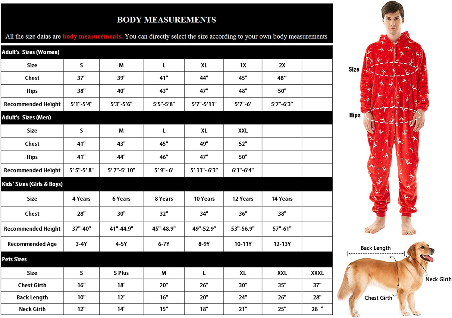 Christmas family pajamas matching sets,Flannel One Piece Pajamas Hooded zippered Pajamas for Adult Kids pets : Clothing, Shoes & Jewelry