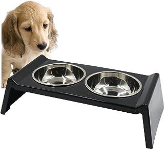 PET LALA (ペットララ) 犬 猫用 食器 スタンド 食事台 ステンレス製 えさ皿 餌 水 容器 食器台 セット おしゃれ スタイリッシュ 食べやすい 設計 (ブラック)