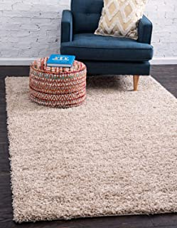 Unique Loom Solo Solid Shag Collection Modern Plush Taupe Area Rug (5' 0 x 8' 0)