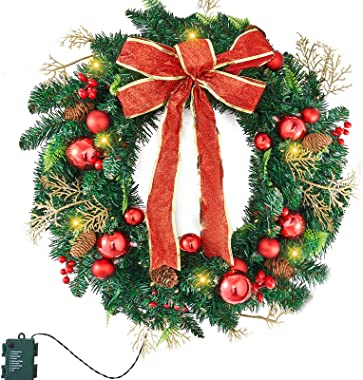 Christmas Wreath with 50 Clear Lights,24 Inch Artifical Christmas Wreath,Xmas Wreath with Red Bowknot, Pine Cone, Ball by BON