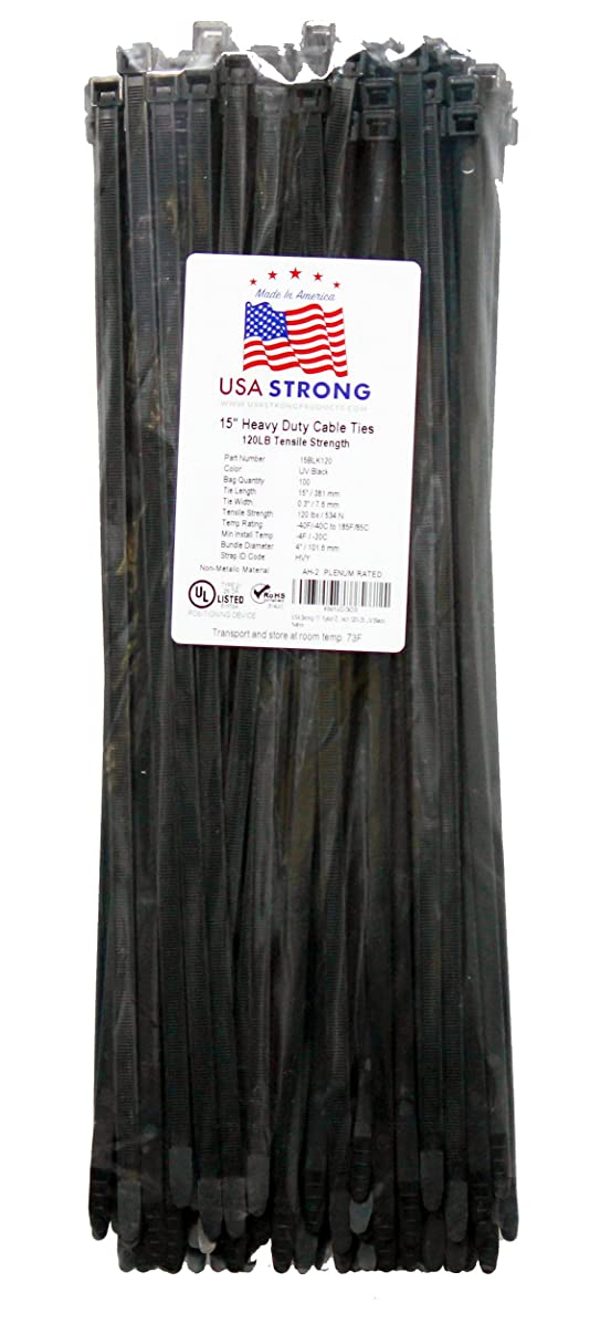 Heavy-Duty Cable Ties, Premium Zip Ties for Cable Management - Nylon (15 Inch (100 Pack), Black)