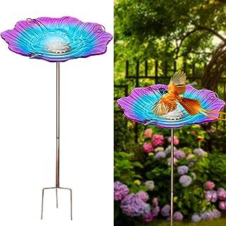 Juegoal 30 Inch High Garden Bird Bath with Metal Stake, Outdoor Colorful Flower Glass Birdfeeder, Yard Lawn Birdbath Fade & Weather Resistant Outdoor Landscape Decoration