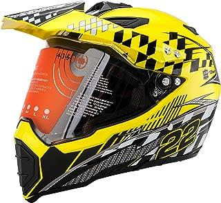 Motorcycle Modular Full Face Helmet Off-Road Dirt Bike Motorcycle Flip up Dual Visor Sun Shield Yellow L by MotorFansClub