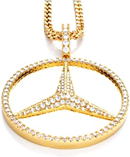 Jalash Mercedes Benz Pendant with CZ Diamond in Yellow Gold Plating Gift for His(Only Pendant)