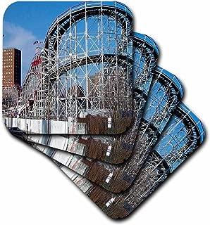 3dRose LLC Coney Island Roller Coaster Ceramic Tile Coaster, Set of 8