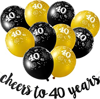 Gejoy Black Cheers to 40 Years Banner 40 Years Old Birthday Banner and 40 Pieces Birthday Balloons for 40th Birthday Celebration Party Decorations