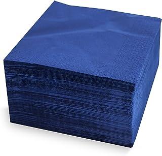 Morigami Servilleta 40x40, 2 capas, pliegue 1/4, 100 servilletas, 2 capas lisa con cenefa, Azul