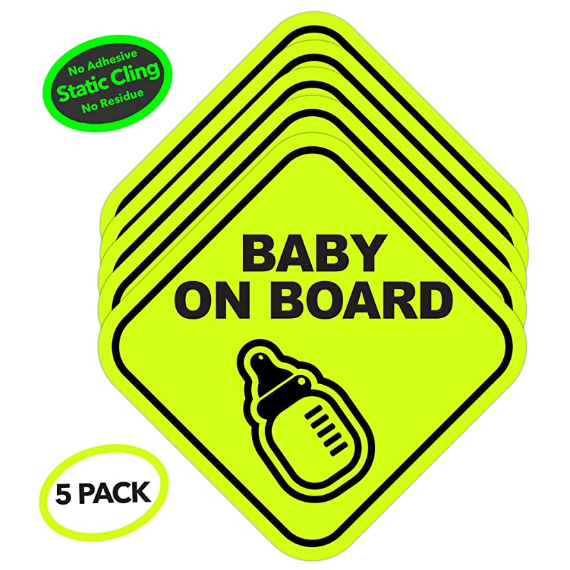 5 Pack Baby on Board Static Cling Safety Stickers for Car | No Glue or Residue | Big Bold Neon Green | Perfect Parent Pack Baby Shower Gift (5 Pack)