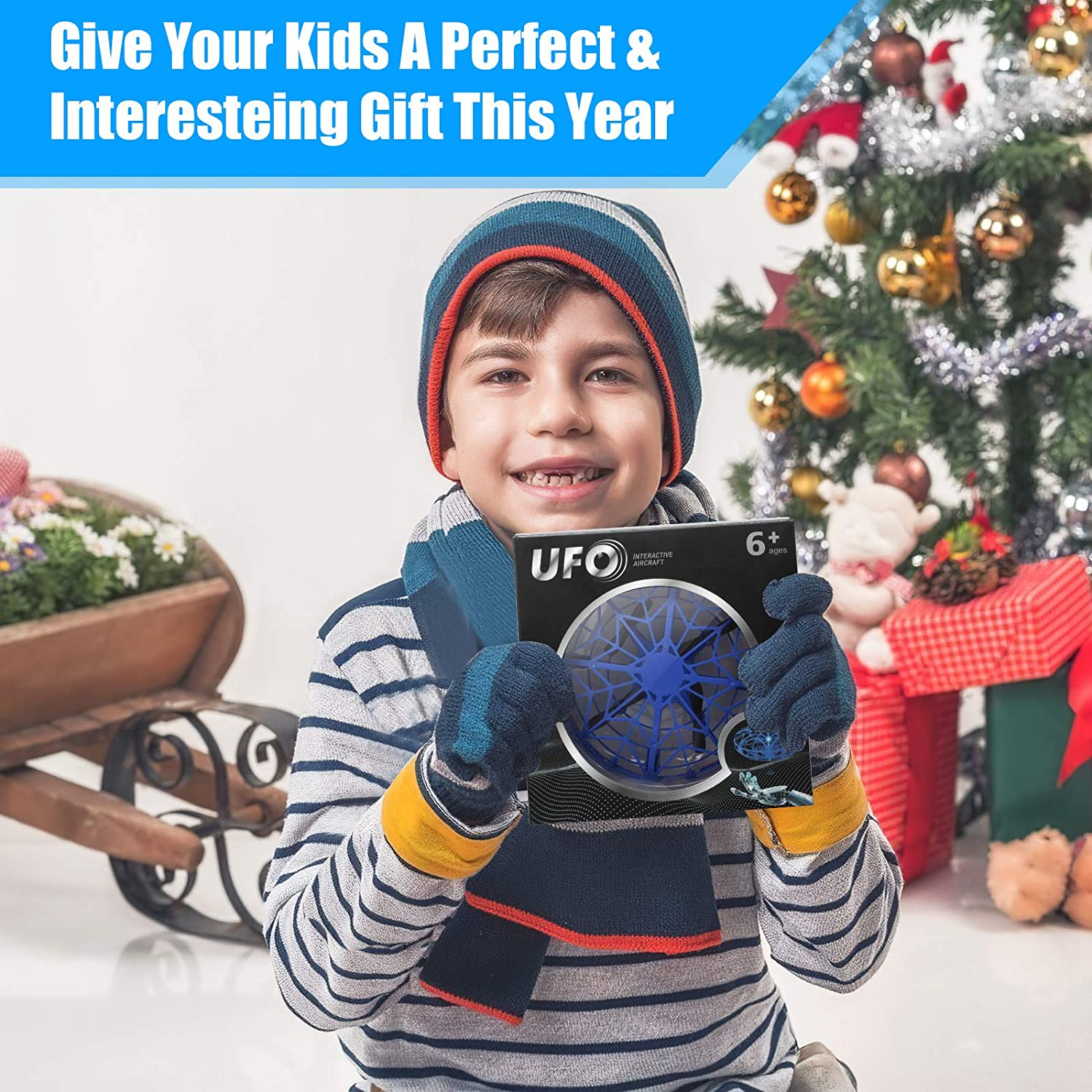 Infrared Sensor//USB Rechargeable One Key Take Off//Landing Indoor 360 Rotating Hand Operated Mini Drone for Kids LED UFO Drone Kids Toys Christmas Birthday Gifts Boys//Girls for Age 6 7 8 9 10
