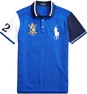 Polo Men's Custom Slim Fit Novelty Crest Big Pony Cotton Mesh Polo Shirt, Cruise Royal Multi