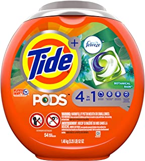Tide PODS 4 in 1, Plus Febreze, Laundry Detergent Liquid Pacs, Botanical Rain, 54 Count - Packaging May Vary