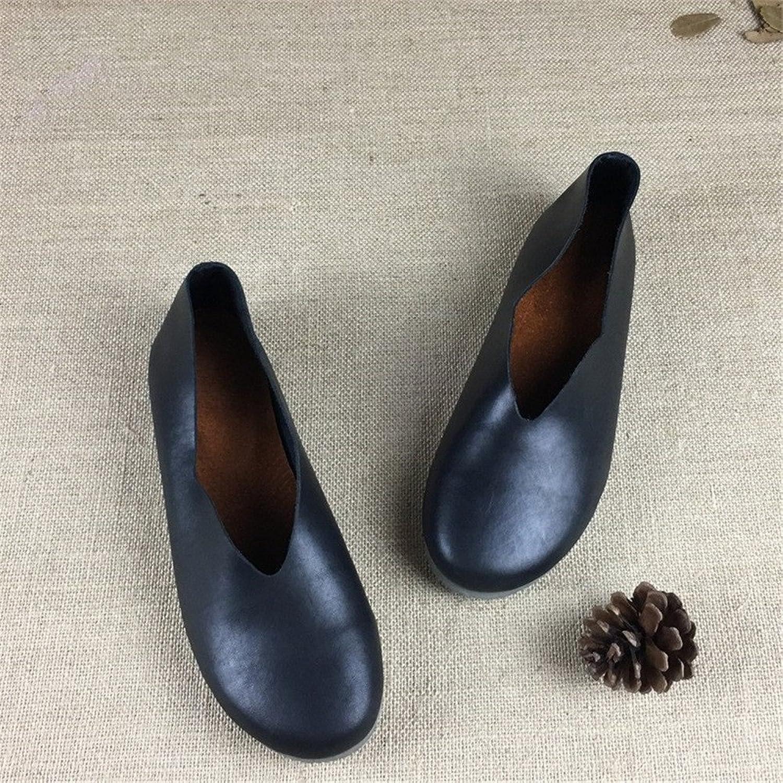 Arlene Hobbes Women Genuine Leather Flat shoes Round Toe shoes Women