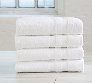 4-Pack Premium 100% Cotton Bath Towel Set (28 x 52 inch) Multipack for Home Spa Pool Gym Use. Quick-Drying and Extra Absorbent. Emelia Collection. (White)