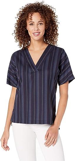 Navy Linen Weave Stripe