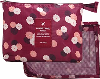 Toiletry Small Pouch Cosmetic Makeup Zipper Personalized Bag for Women Teen Girl (Mesh Purple)