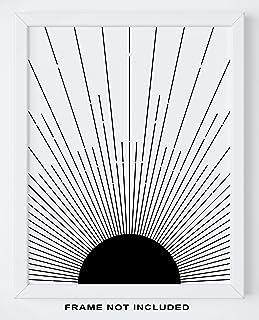"Abstract Geometric Sun Wall Art Print - 11x14"" UNFRAMED Print - Modern, Minimal, Black And White Sunrise And Sunset Stripes Line Decor - Scandinavian, Nordic, Mid Century Modern Decor"
