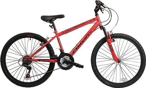 Falcon Raptor 24 Inch Boys Front Suspension Mountain Bike 18 Speed Gears rot- MV