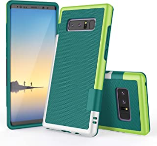 Galaxy Note 8 Case, TILL(TM) Ultra Slim 3 Color Hybrid Impact Anti-Slip Shockproof Soft TPU Hard PC Bumper Extra Front Raised Lip Case Cover for Samsung Galaxy Note 8 2017 All Carriers [Green]