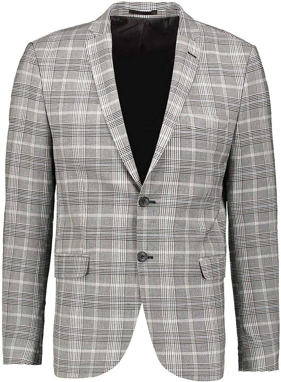 Men's Plaid Blazer Notched Lapel Single Breasted Two Buttons
