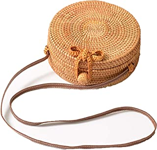 FIV-Tropic Handwoven Round Rattan Bag With Linen Inside and Bow Clasp