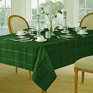 Newbridge Elegance Plaid Christmas Fabric Tablecloth, 100% Polyester, No Iron, Soil..