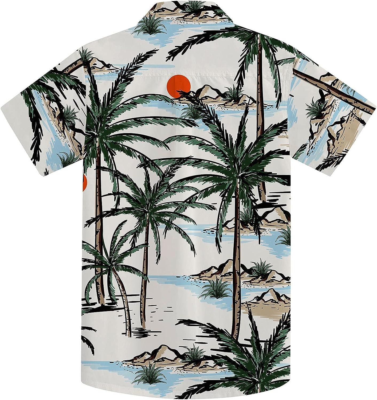 Little & Big Boy's Button Down Hawaiian Shirts Short Sleeve Cool Cartoon Print Aloha Dress Tops T-Shirt for Kids 7-14T