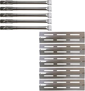 Hisencn Grill Replacement Kit for Kenmore Sears P01705009E, P01708034E, P02008010A, P02008029A, Grill Chef PAT502, PAT-502 Gas Grill Models, Stainless Steel Burner Tube, Heat Plate Tent Shields