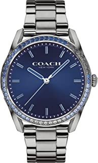 ساعة بمينا ازرق وكحلي وسوار ستانلس ستيل مطلي ايونيًا بالرمادي للنساء من كوتش - 14503478
