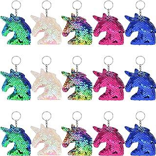 15 Stücke Flip Pailletten Einhorn Schlüsselanhänger Bunte Einhorn Schlüsselanhänger für Handtasche Geldbörse Party Verschönerung, 5 Farben