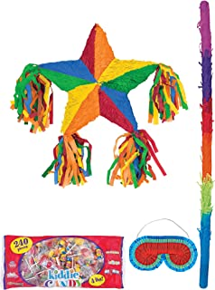 Party City Rainbow Star Pinata Supplies, Include a Pinata, a Colorful Pinata Stick, a Blindfold, and 4 Pounds of Candy