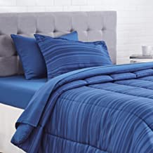 AmazonBasics 5-Piece Bed-In-A-Bag Comforter Bedding Set - Twin or Twin XL, Blue Calvin Stripe