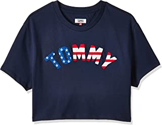 Tommy Hilfiger Women's Cropped Fit Flag T-Shirt, Color: Blue, Size: M