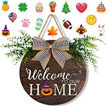 OurWarm Interchangeable Seasonal Welcome Door Sign Front Door Decor, Rustic Wood Round Wreath with Buffalo Plaid Bow Wall ...