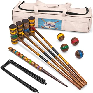 Vintage Wood Premium Croquet Set   4-player Outdoor Backyard Family Game   Deluxe Set Includes Mallets, Balls, Steel Wickets, and Decorative Stake   Stores in Heavy Duty Canvas Carry Bag