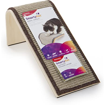 SmartyKat, Sisal Angle Ramp, Cat Scratcher, Interactive Cat Toy, Durable Wooden Structure with Natural Sisal Surface