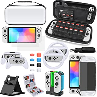 Accessories Bundle for Nintendo Switch OLED Model, MENEEA Carrying Case & Screen Protector, Dockable Clear Cover, Grips & ...